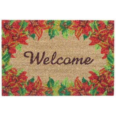 Poinsettia Welcome 16 in. x 24 in. SuperScraper Vinyl/Coir Door Mat