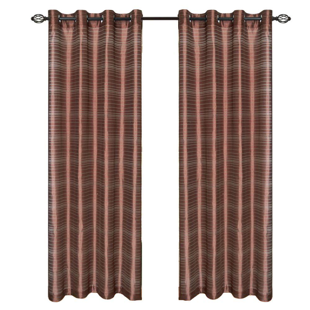 Lavish Home Chocolate Maggie Grommet Curtain Panel 95 In Length 63 95q298 C The Home Depot