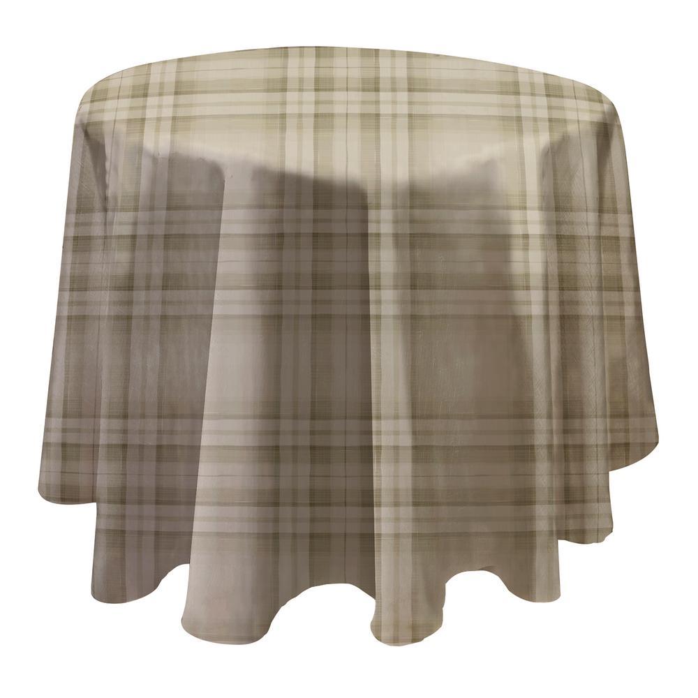 Reeve Plaid 70 inch W x 70 inch L Grey Round Single Vinyl Tablecloth by