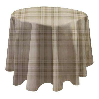 Reeve Plaid 70 in. W x 70 in. L Grey Round Single Vinyl Tablecloth