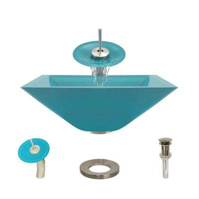 Glass Vessel Sink in Cerulean with Waterfall Faucet and Pop-Up Drain in Bushed Nickel