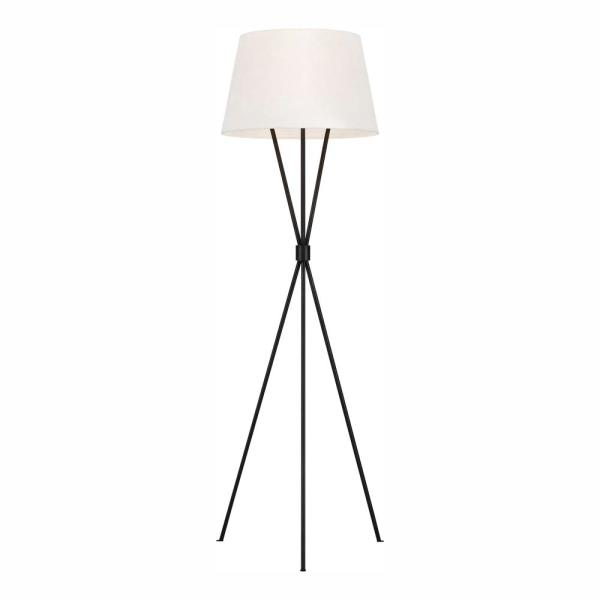 ED Ellen DeGeneres Crafted by Generation Lighting Penny 55.125 in. Aged Iron Tripod Floor Lamp with White Linen Shade