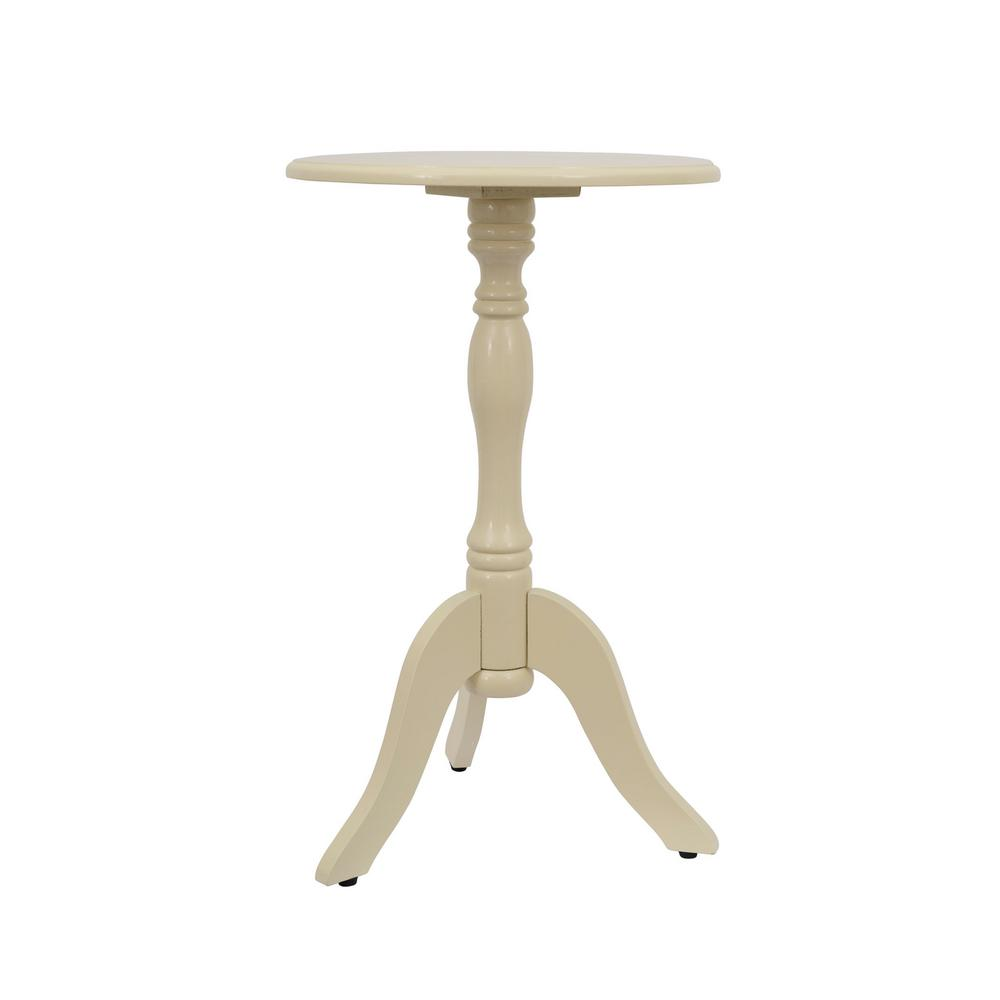 Decor therapy simplify off white pedestal accent table