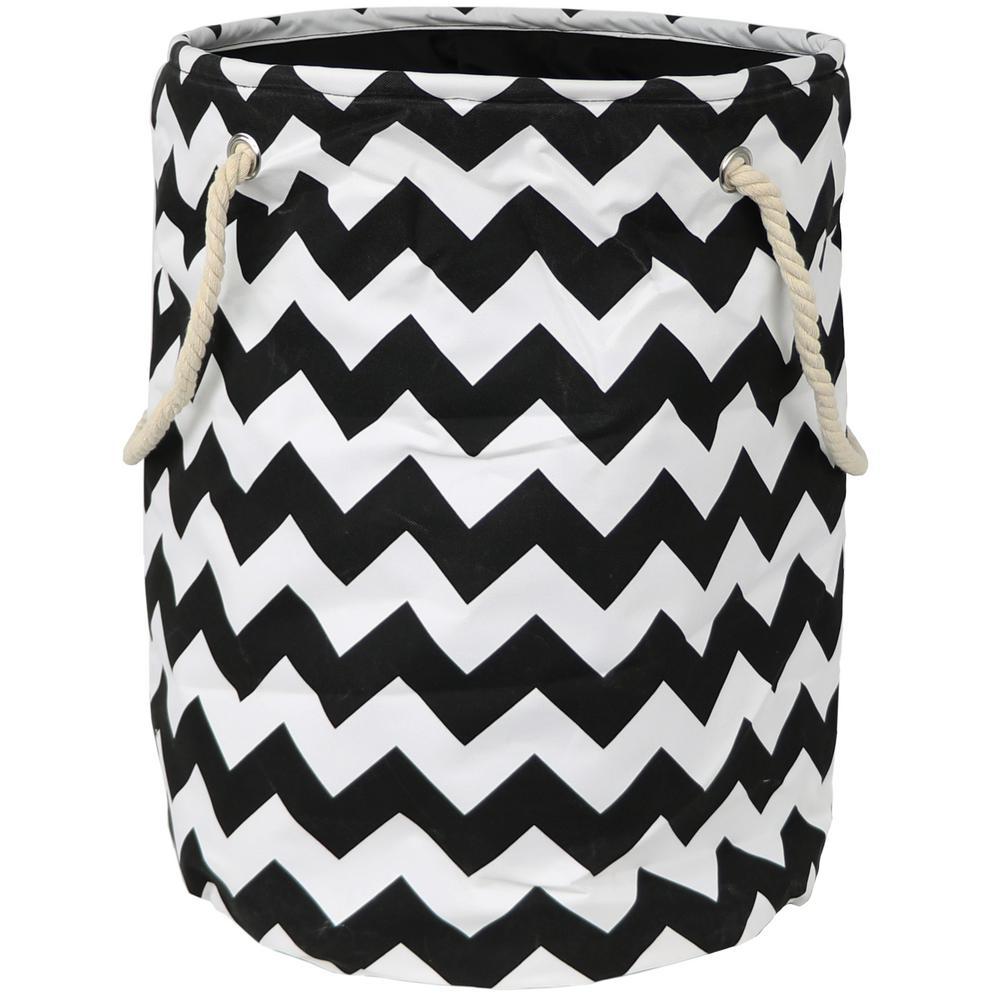 Bold Black Chevron Polyester Standing Laundry Basket