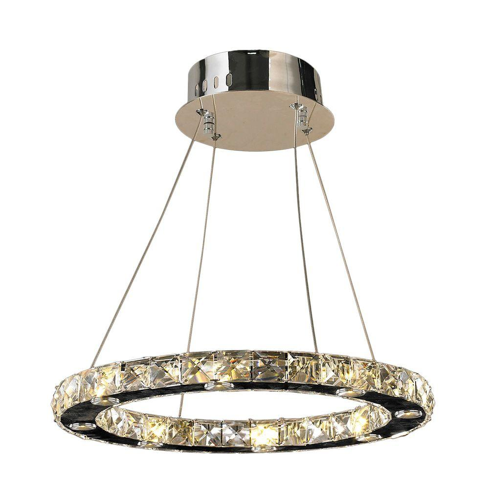 Worldwide Lighting Galaxy 16-Light Polished Chrome Crystal Ring LED Chandelier