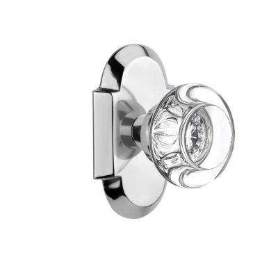 Cottage Plate Double Dummy Round Clear Crystal Glass Door Knob in Bright Chrome