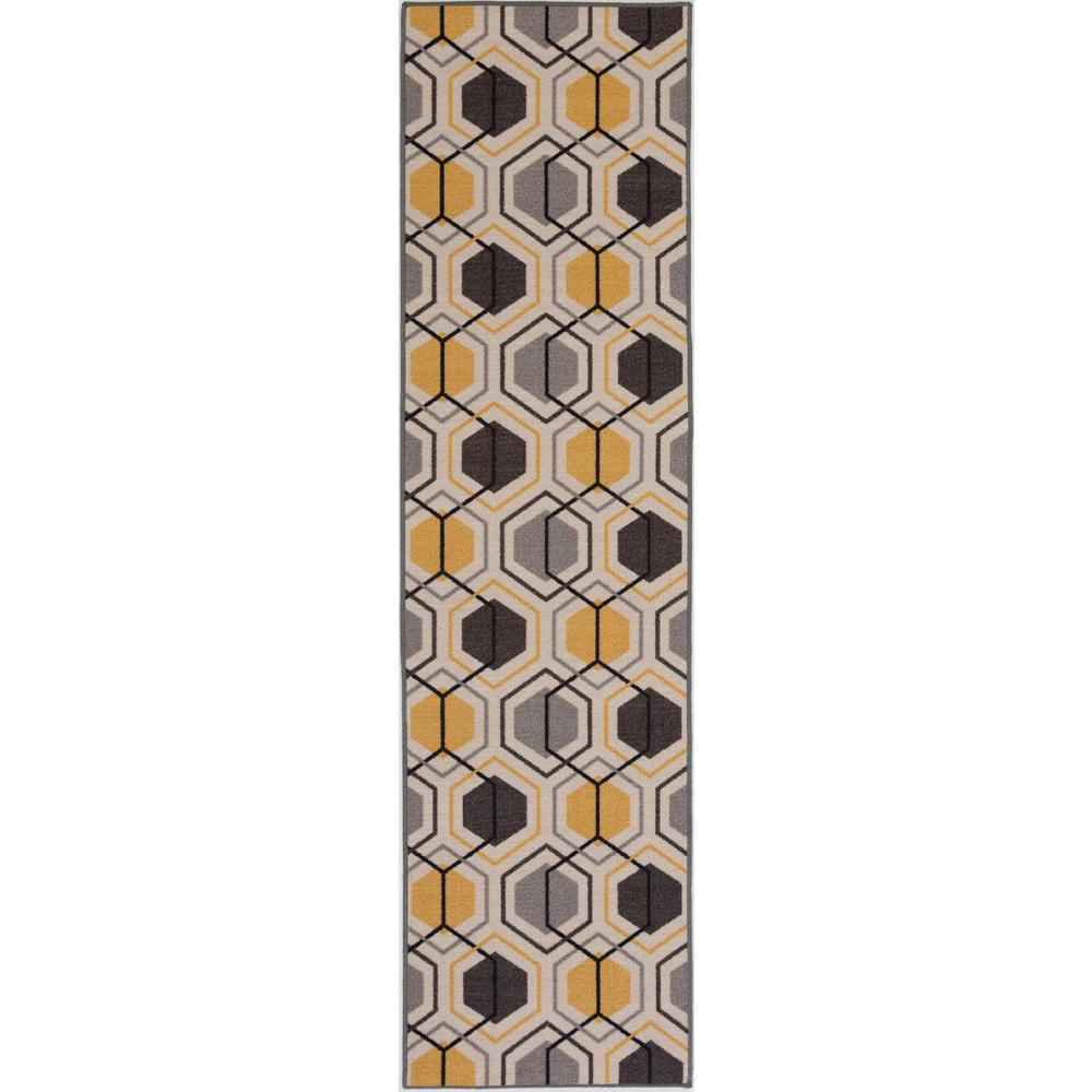 Contemporary Geometric Stripe Non Slip Skid Yellow Area Rug Runner 2