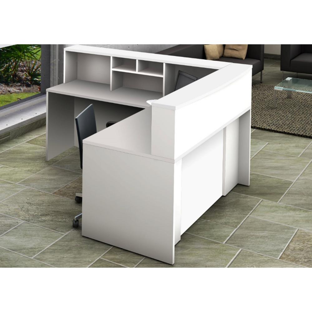 4-Piece White Office Reception Desk Collaboration Center