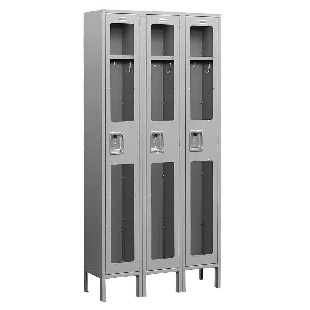 Salsbury Industries S-61000 Series 36 in. W x 78 in. H x 15 in. D Single Tier See-Through Metal Locker Unassembled in Gray