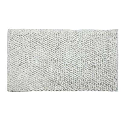 Bubbles Pattern 50 in. x 30 in. Cotton and Microfiber White Latex Spray Non-Skid Backing Bath Rug