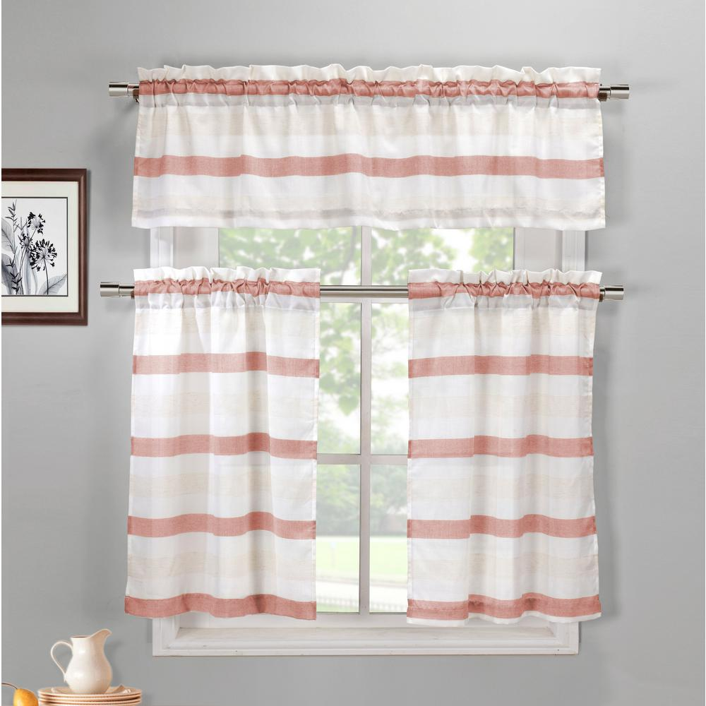 Duck River Akua Coffee-Linen Kitchen Curtain Set - 58 in. W x 15 in. L  (3-Piece)