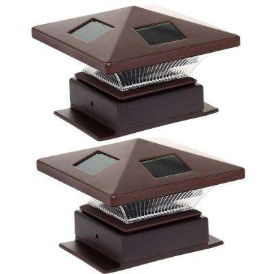 4 in. x 4 in. Pagoda II Solar Powered Integrated LED Bronze Plastic Post Cap Light (2-Pack)