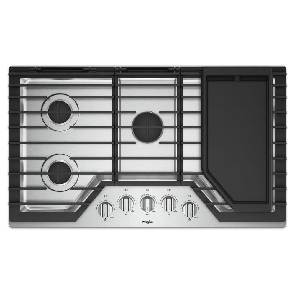 Whirlpool 36 in. Gas Cooktop in Stainless Steel with 5 Burners and Griddle