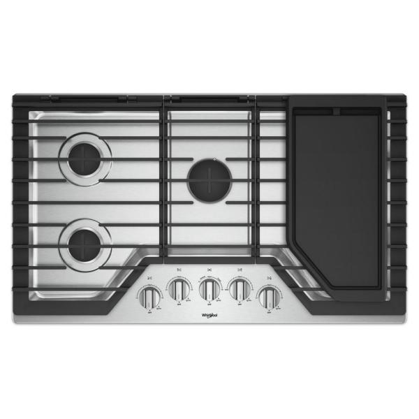 36 in. Gas Cooktop in Stainless Steel with 5 Burners and Griddle