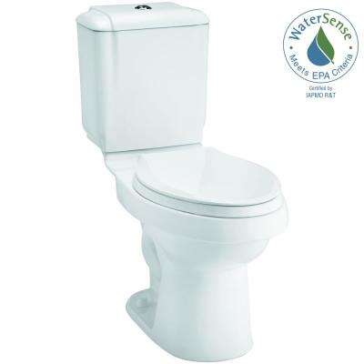 Rockton 2-piece 0.8 or 1.6 GPF Dual Flush Elongated Toilet in White