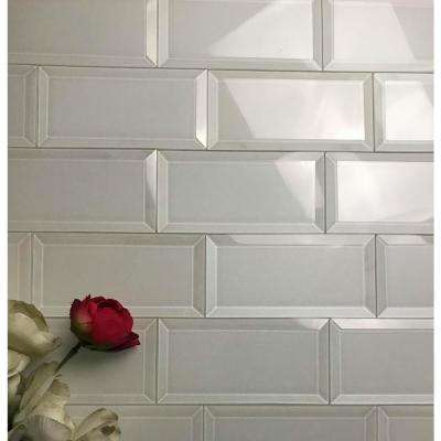 Frosted Elegance White Subway 3 in. x 6 in. Glossy Wall Tile (1 sq. ft.)