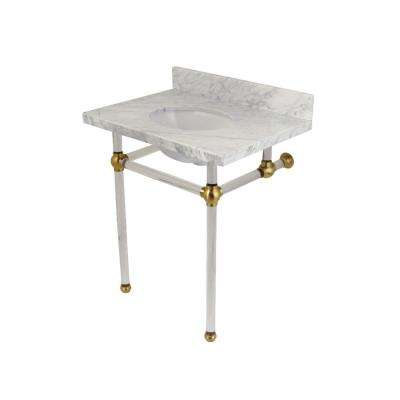 Washstand 30 in. Console Table in Carrara Marble White with Acrylic Legs in Satin Brass