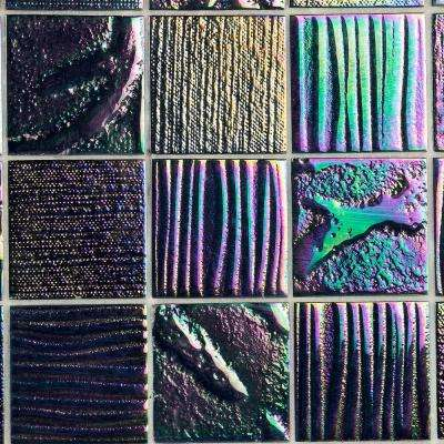 Marina Iridescent Black Squares 12 in. x 12 in. 8 mm Polished Glass Wall Tile (1  sq. ft.)