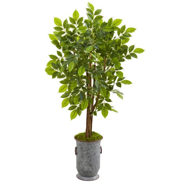 Nearly Natural 55 In River Birch Artificial Tree In Decorative Planter 9532 The Home Depot
