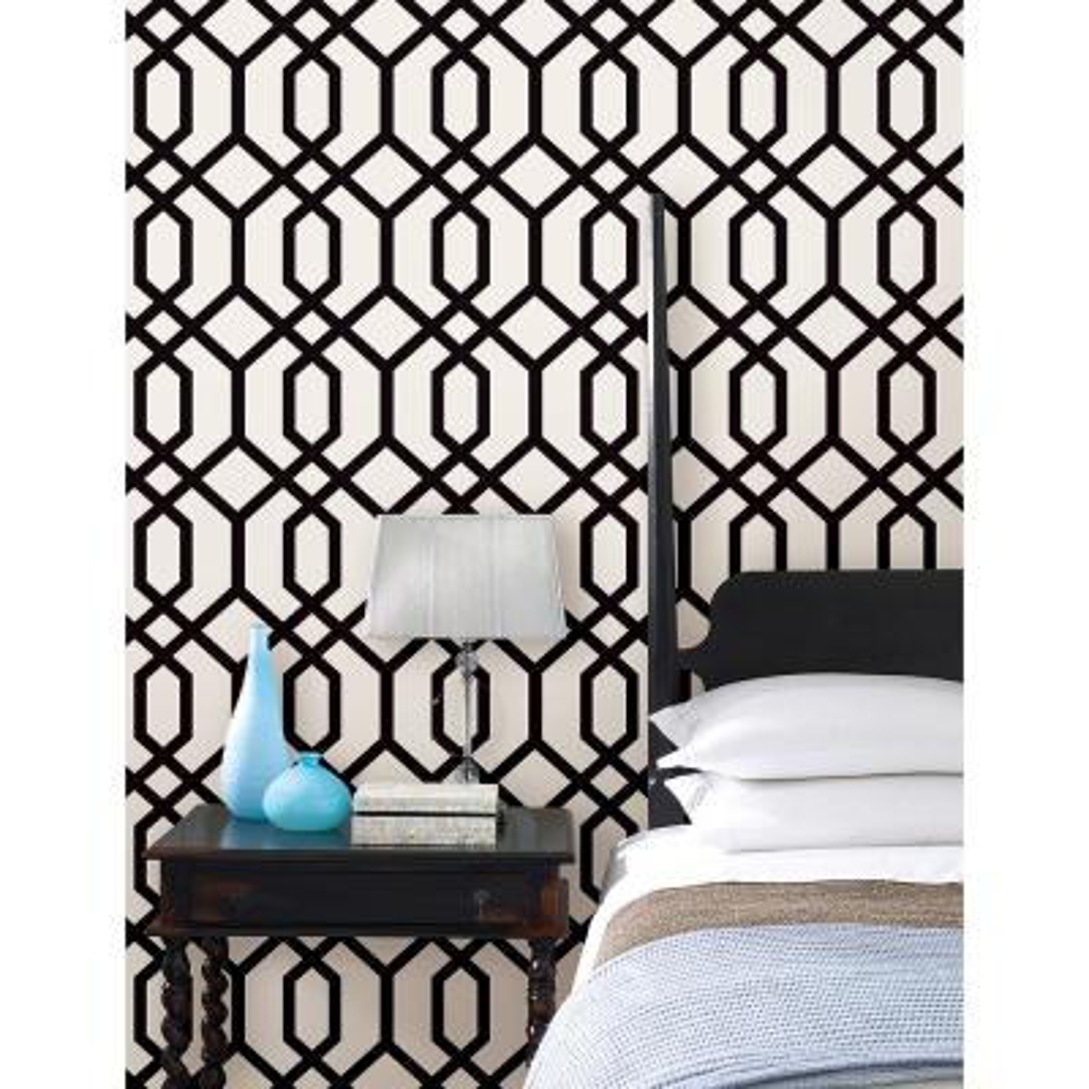 Trellis Black Montauk Wallpaper Sample