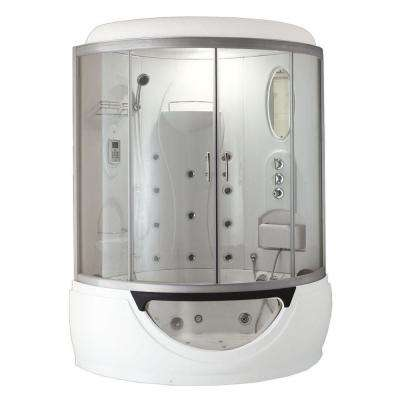 Cascade 53 in. x 53 in. x 88 in. Steam Shower Enclosure Kit with Whirlpool Tub in White