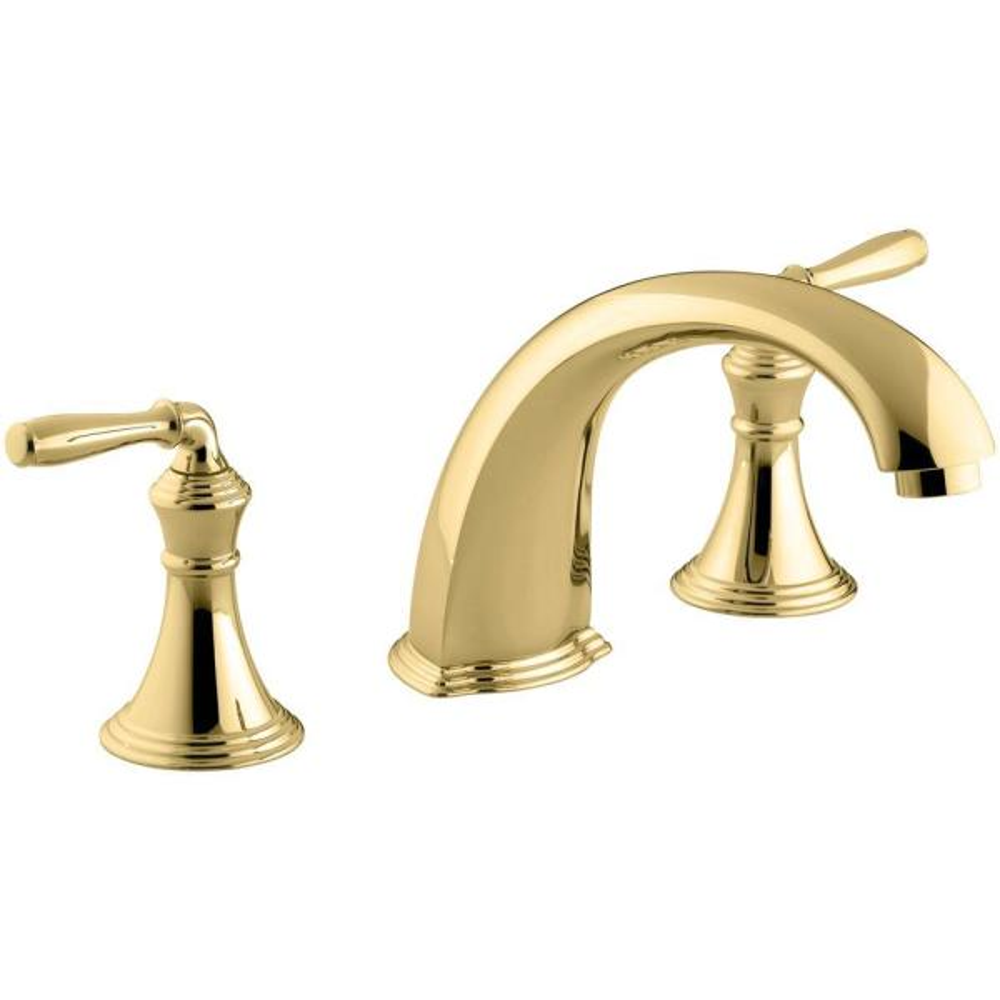 Kohler Devonshire 2 Handle Deck And Rim Mount Roman Tub Faucet Trim Kit In Vibrant Polished Brass Valve Not Included K T398 4 Pb The Home Depot