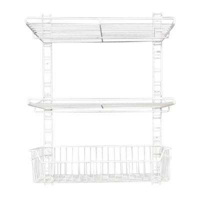 39 in. x 27 in. White Steel Rail Wall Bracket System for Wire Shelving