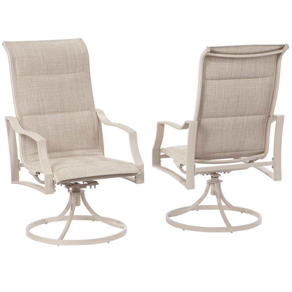 Hampton Bay Statesville Shell Swivel Aluminum Sling Outdoor Dining Chair  (2 Pack)