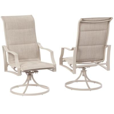 Statesville Shell Swivel Aluminum Sling Outdoor Dining Chair (2-Pack)