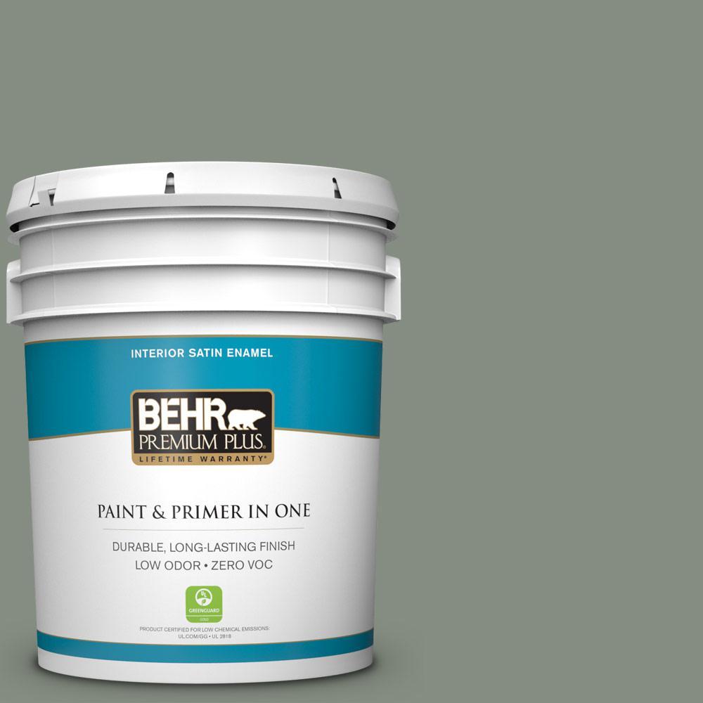 BEHR Premium Plus 5-gal. #PPF-34 Peaceful Glade Zero VOC Satin Enamel Interior Paint