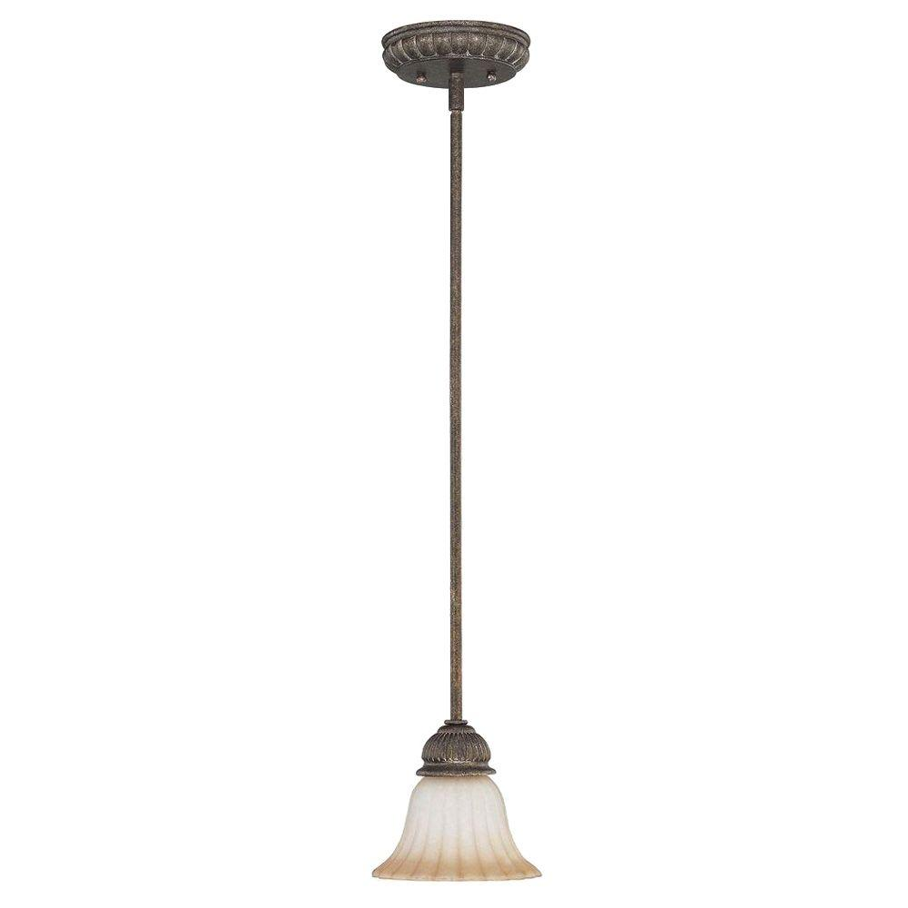 Glomar Fortunata - 1-Light Mini Pendant with Corvo Amber Wash Glass Lisbon Bronze-DISCONTINUED