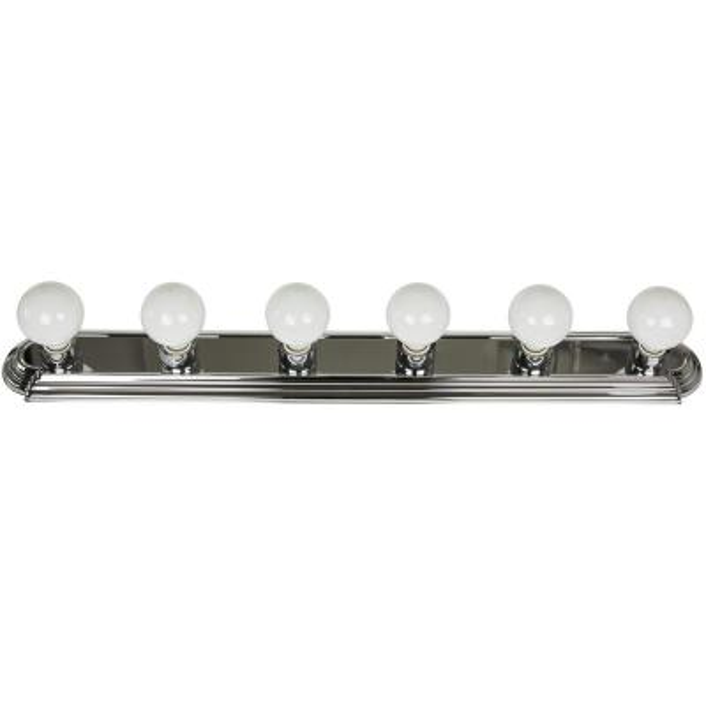 Globe Style 36 in. 6-Light Chrome Bath Vanity Wall-Light Fixture