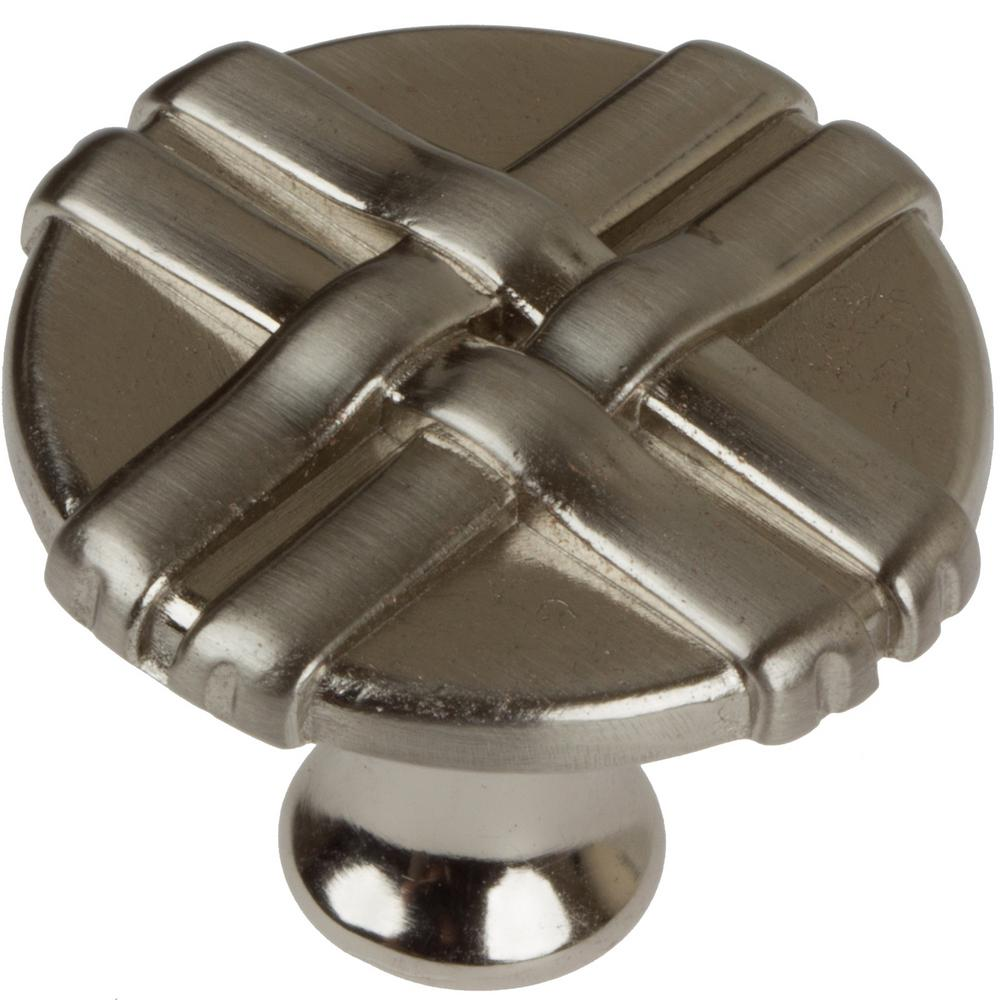 1-1/4 in. Dia Satin Nickel Gift Weave Cabinet Knob (10-Pack)