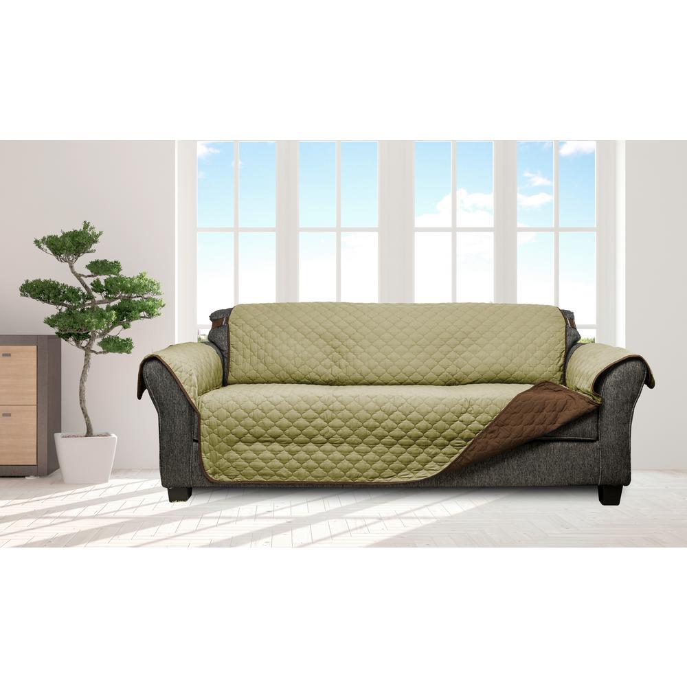 Jameson Sage-Chocolate Reversible Waterproof Microfiber Extra-sofa Cover elastic Buckle