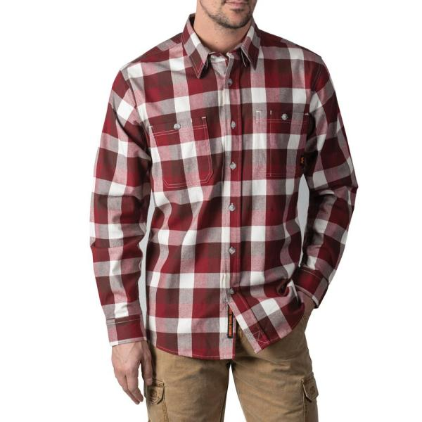 Walls Outdoor Goods Men S Longhorn Midweight Brushed Flannel Stretch Work Shirt Yl860drt L The Home Depot