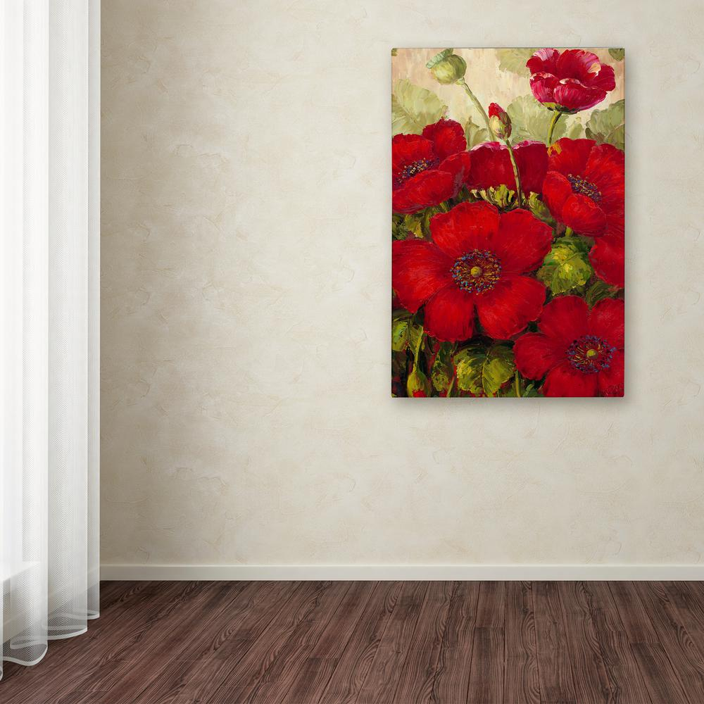 """19 in. x 14 in. """"Poppies II"""" by Rio Printed Canvas"""