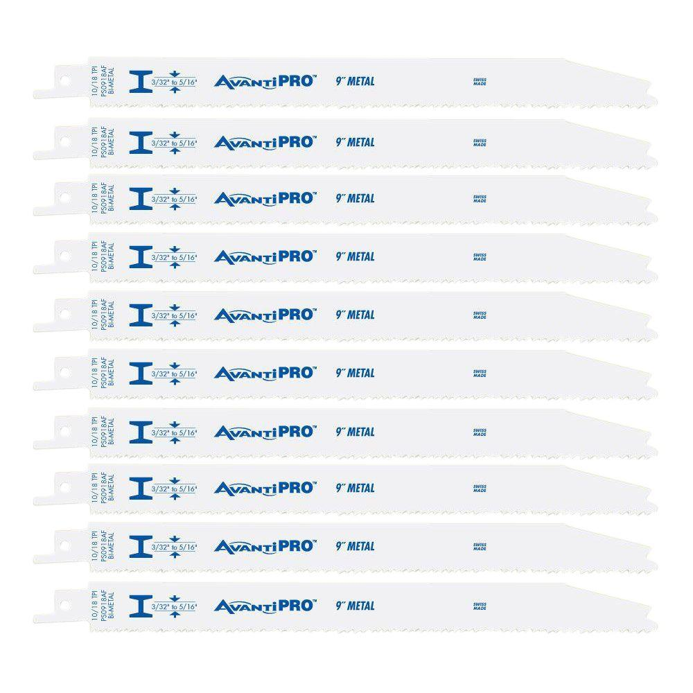 Avanti Pro 9 in. 10/18 Teeth per in. Thick Metal Cutting Reciprocating Saw Blade (10-Pack)