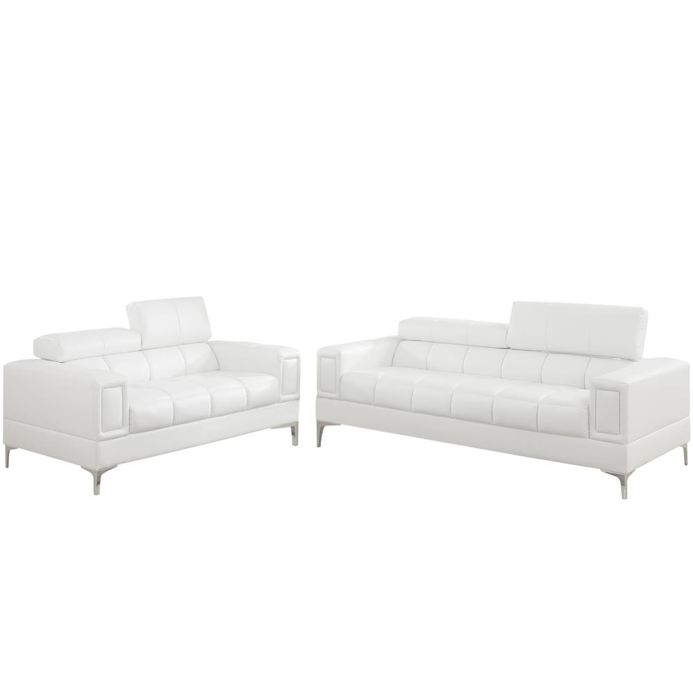 Venetian Worldwide White Leatherette Sofa Set