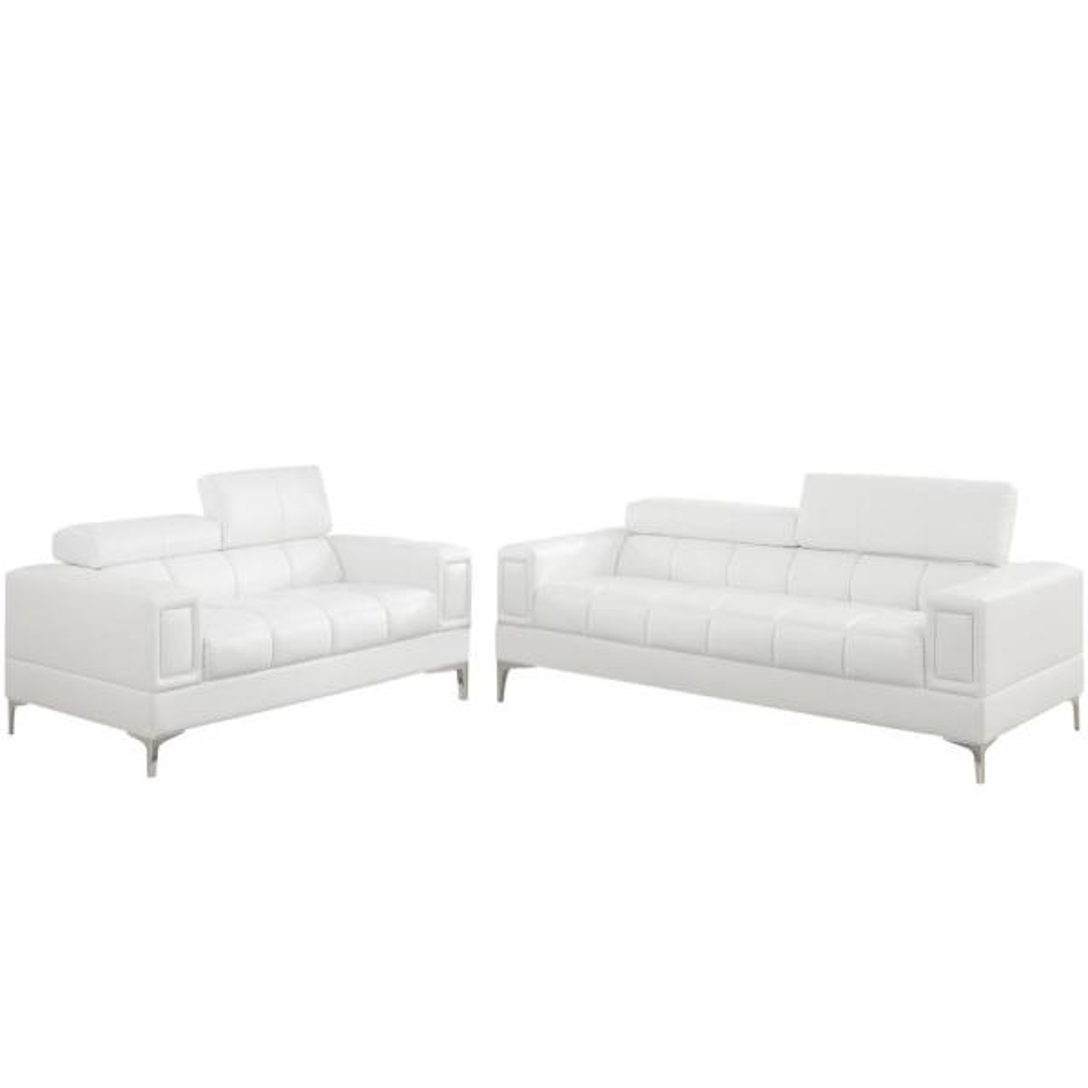 Venetian Worldwide Asti 2 Piece White Leatherette Sofa Set