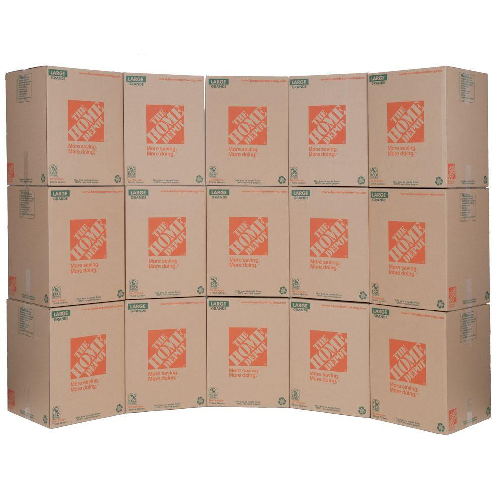 The Home Depot 18 in. L x 18 in. W x 24 in. D Large Moving Box (15-Pack)