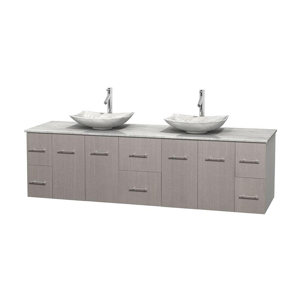 Centra 80 in. Double Vanity in Gray Oak with Marble Vanity