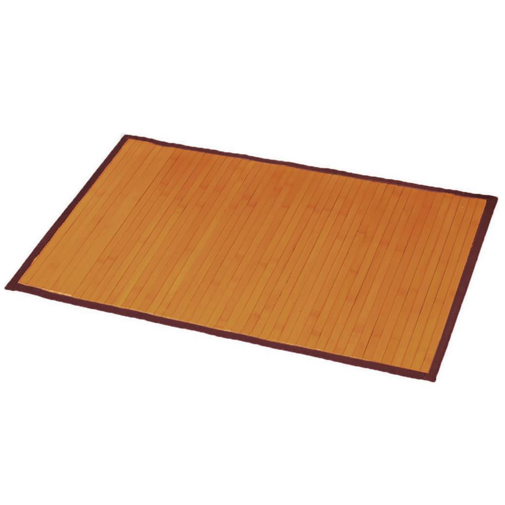 Light Brown 31.5 in. L x 20 in. W Bamboo Rug Bath Mat Anti Slippery