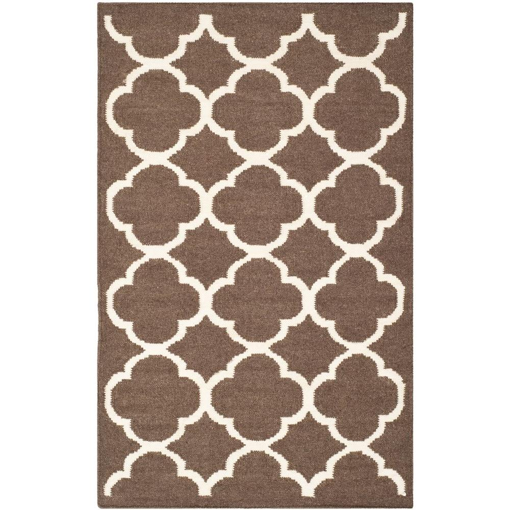 Dhurries Brown/Ivory 2 ft. 6 in. x 4 ft. Area Rug