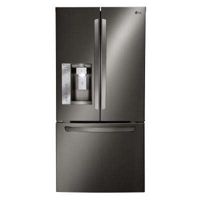 33 in. W 24.2 cu. ft. French Door Refrigerator in Black Stainless Steel
