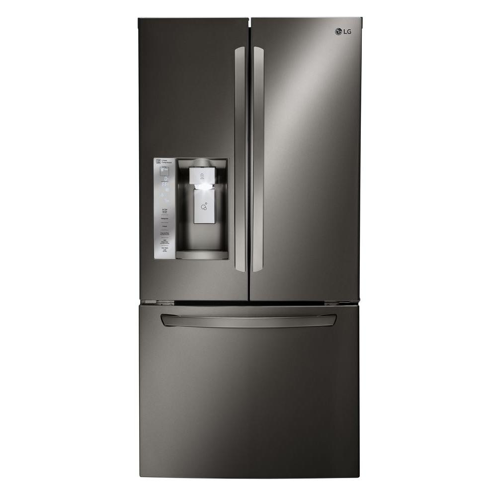 Lg Electronics 33 In W 24 2 Cu Ft French Door Refrigerator Black