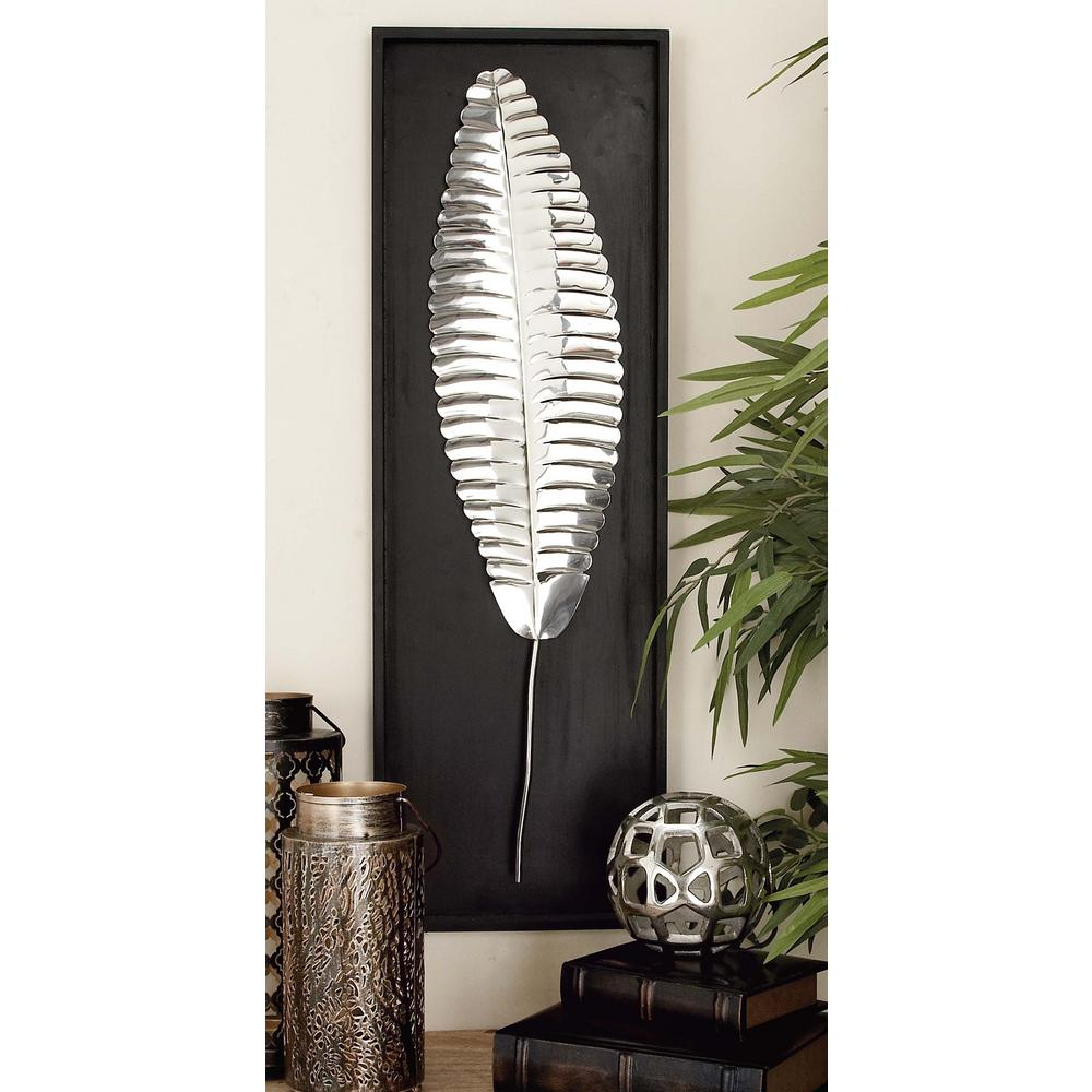 12 in. x 36 in. Stainless Steel Leaf Platter Wall Decor