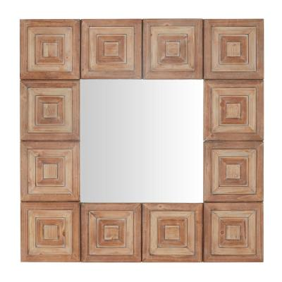 Medium Rectangle Brown Antiqued Art Deco Accent Mirror (32 in. H x 32 in. W)