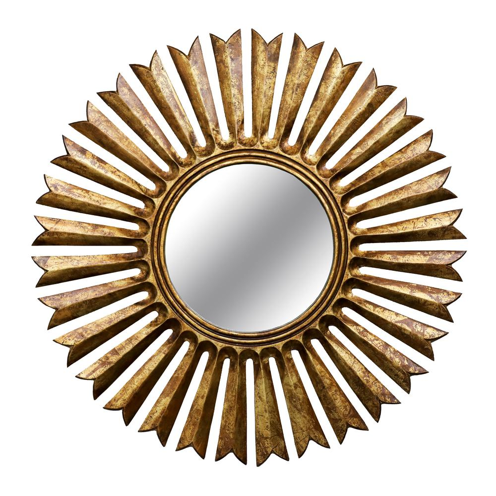 Kenroy Home Sunray Round Sunburst Antique Gold Wall Mirror 60436 ...