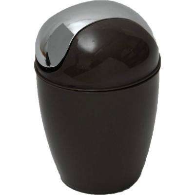 0.5 l/0.3 Gal. Mini Waste Basket for Bath or Kitchen Countertop with Chrome Lid in Brown