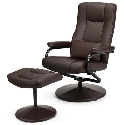 Coffee Adjustable Backrest Recliner Chair Swivel Armchair Lounge with Ottoman
